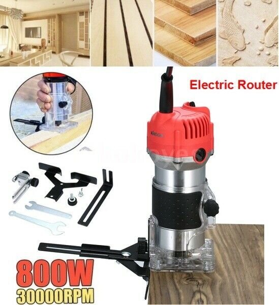 220V 800W Electric Hand Trimmer Wood Laminator Router Joiners Tool Set 30000 rpm