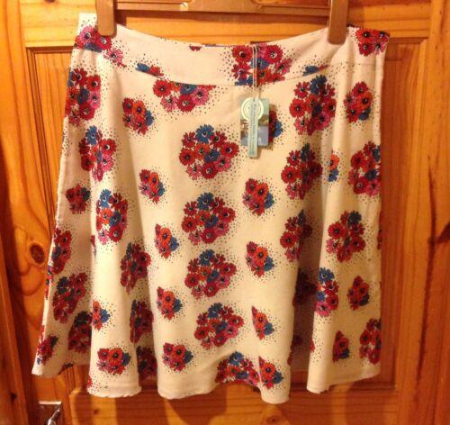 Seasalt cornwall féminine jupe taille 16 bouquet floral bnwt coton doublé neuf