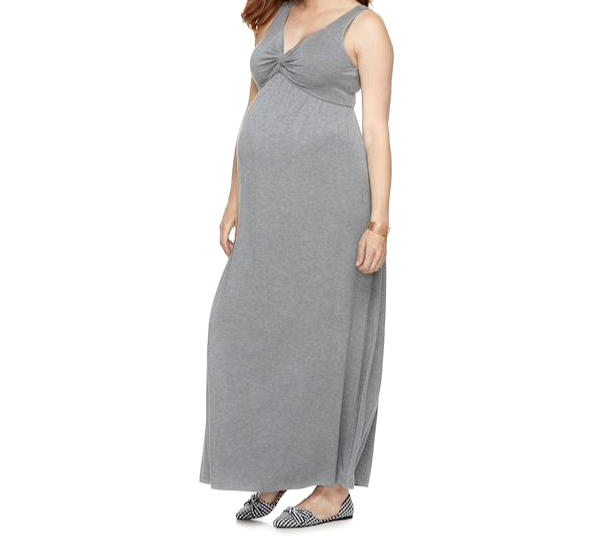 Small Maternity Dress A Glow Knot New Full Length Gray Maxi S 4 6 Kohls Nwt Gown For Sale Online