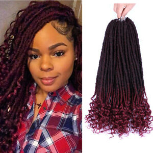 Details about 18\u0027\u0027 Faux Locs Crochet Hair With Curly Ends Goddess Locs  Braiding Hair Extension