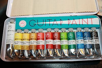 Guitar Opaque Water Colour Paint Tubes  12 Tubes  VINTAGE HTF Japan in tin new