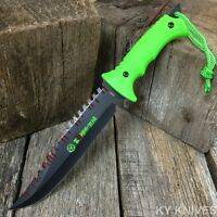 13 Zombie Killer Tactical Hunting Survival Knife Fixed Blade Bowie Neon Green