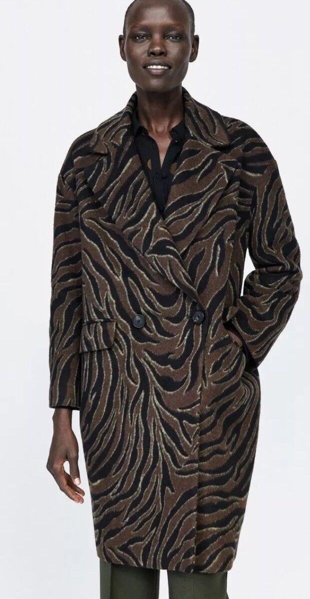ZARA NEW AW18 19 Wool Blend Coat Animal Print Small BNWT