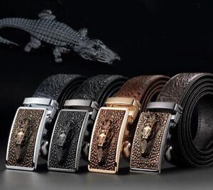 Charm-Mens-Crocodile-Pattern-Automatic-Buckle-Leather-Belt-Waist-Strap-Waistband