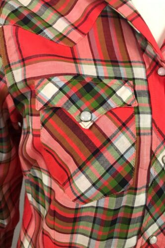 50s Orange /& Green Plaid Button Up Shirt Miller Small Details about  /1950s Western Shirt