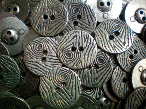 23 mm 36 L argent vieilli effet métal 2 trous en Bois art industriel Costume Bouton XM47