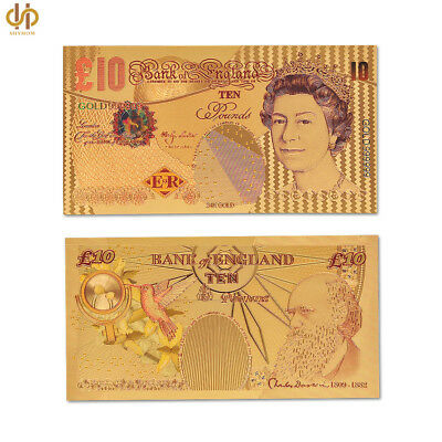 GREAT BRITAIN 10 POUNDS ENGLAND COLORFUL 24K GOLD BANKNOTE BILL