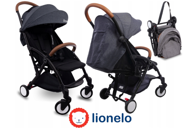 Lionelo Julie Black Lightweight Pram Buggy Pushchair Stroller Baby Toddler