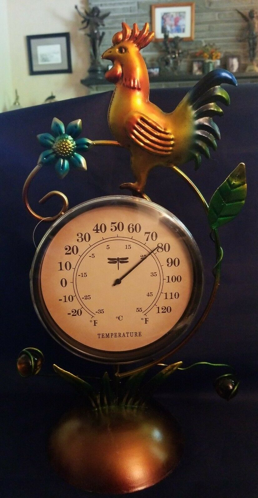Celebrate the season Spring Blooms Collection Table Thermometer (Rooster)