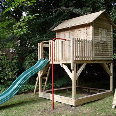 HOQ massives Stelzenhaus Spielturm Baumhaus aus Holz Rutsche NEU