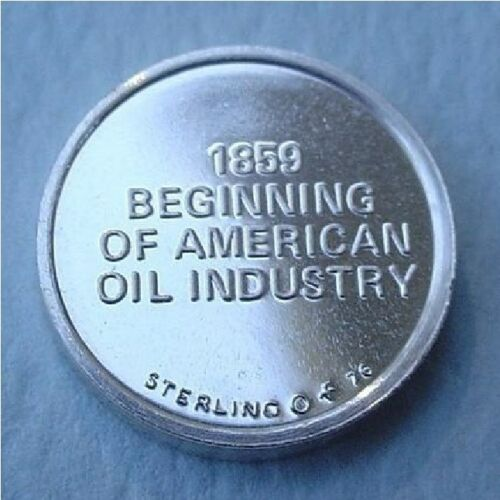 1859 American Oil Industry Begins Franklin Mint Sterling Silver Mini-Ingot