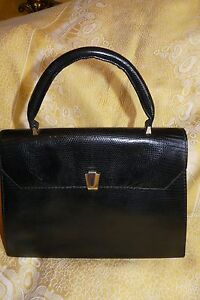 Grand 1970 Véritable Noir En Lezard Sac SwrqSW8pH