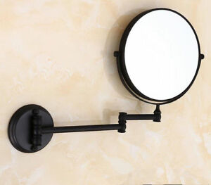 Black 8 Magnifying Mirror For Bath Makeup Wall Mounted Swing Arm 3x