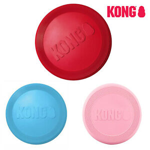KONG-Flyer-Puppy-Classic-Frisbee-Dog-Rubber-Durable-Fetch-Play-Red-Blue-Pink
