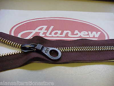 BRASS CONTINUOUS SMOOTH DRAW ZIP 1M No10 XX VERY HEAVY DUTY  BROWN