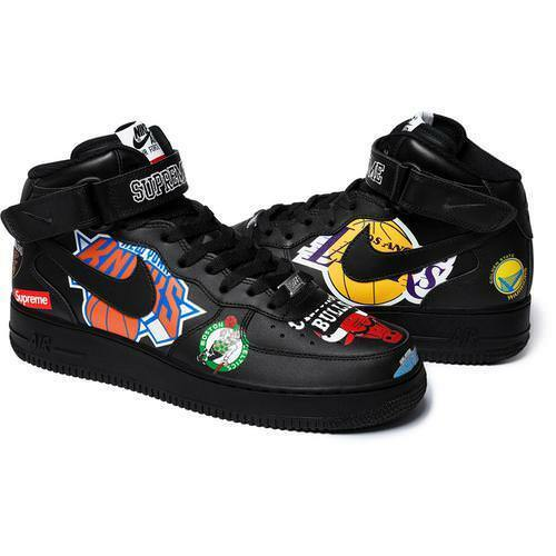 Supreme 18S S NBA Teams Air Force 1 Mid Black size 10, 10.5, 12