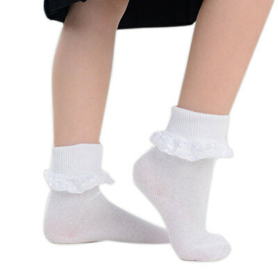 Girls Frilly Pretty Lace Top Soft Cotton Rich Back to School Ankle Socks White