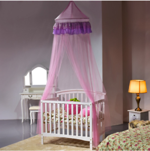 Home Pink Romantic Lace Anti Mosquito Mesh Canopy Round Dome ...