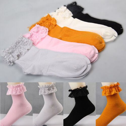 Damen Damen Retro Cute Lace Rüschen Rüschen Knöchel Socken Baumwolle SockZXJ
