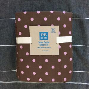 Pottery Barn Teen Tonal Dottie Queen Sheet Set Pink Brown