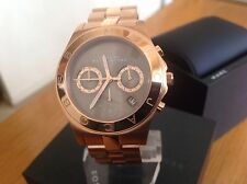 Marc Jacobs Ladies Blade RoseGold Tone Brown Dial Chronograph Watch MBM3308