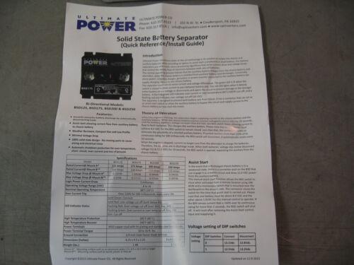 Bi Direc 12 Volt 175 amp ULTIMATE POWER SOLID STATE BSD175 Battery Separator