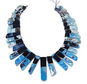 Agata-rectangular-stab-nuggets-Azul-schw-Hilo-de-perlas-abalorios-acha-17