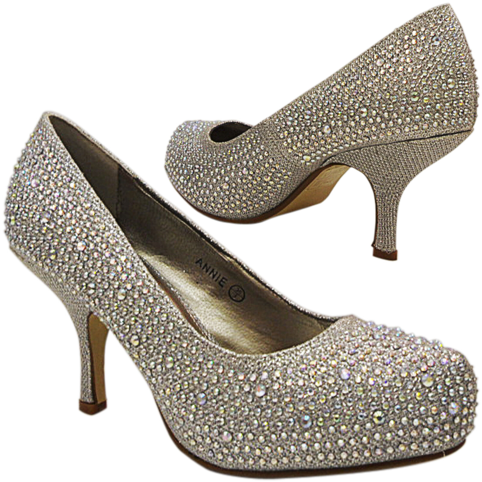 NEW WOMENS LADIES LOW HEEL BRIDAL PROM WEDDING PARTY SPARKLY COURT SHOES SIZE