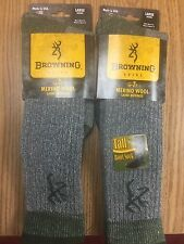 2 Pair of Browning Socks - Tall 90% Merino Wool Boot - #9169 -  - Large