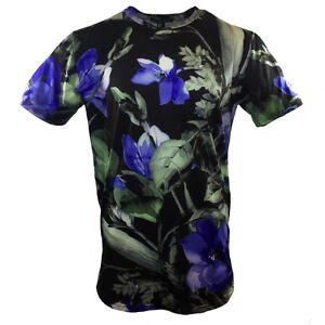 ba89db5e3238b7 FOREVER 21 Men s T-shirt - Black -Blue Flowers - Fashion -21 Men ...