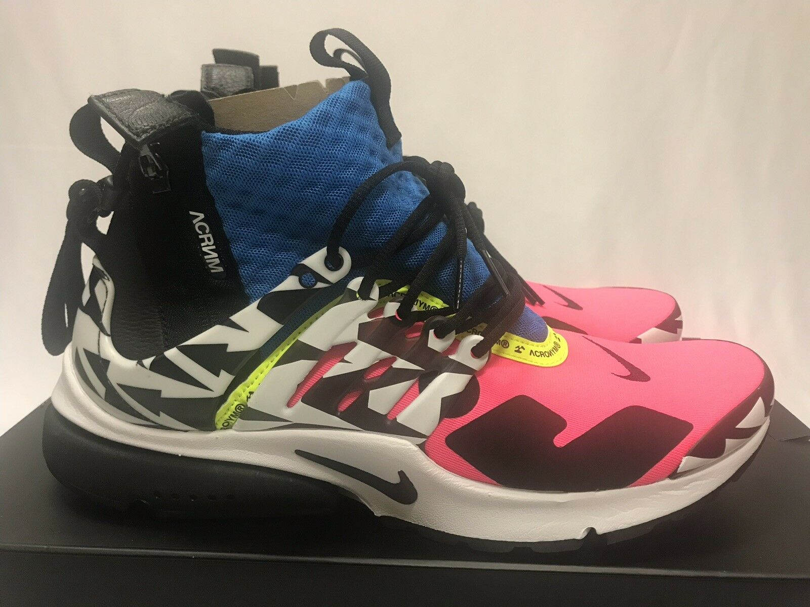 Air Presto Mid Acronym Racer Pink Size 9 Black Photo bluee White AH7832-600