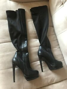 e432779f6c8 GUESS by Marciano Black Over The Knee Leather Boots Platform High ...