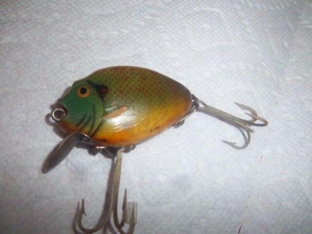 vtg heddon wood punkinseed fishing tackle sinking lure  740 ? bass walleye mucky