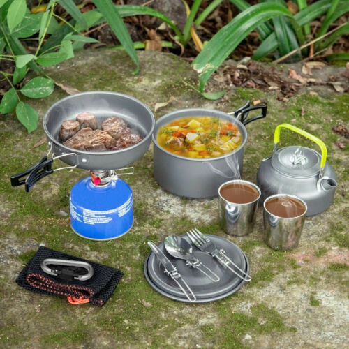 10 teilig Camping Kochset Kochtopf Set Kochgeschirr Topfset Outdoor Aluminium