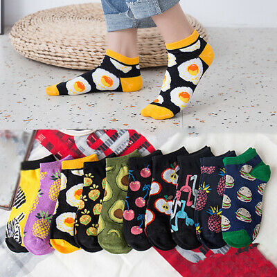 Women Girls Boat Ankle Socks Low Cut Fruit Embroidery Summer Casual Candy Color