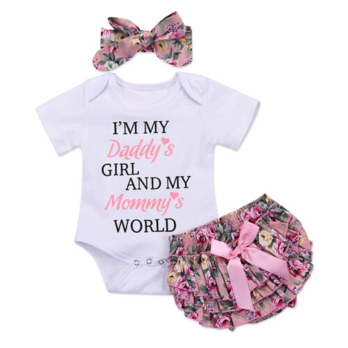 Baby/'s Romper Outfit Sets Jumpsuit Bodysuit  Bow Headband Floral Ruffle Pants