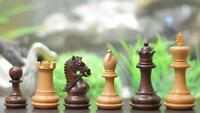 "The Bridle Series Weighted Chess Pieces in Shesham & Box Wood - 3.0"" King"