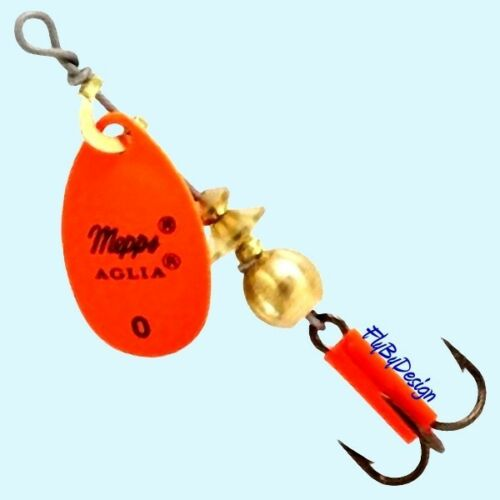 Choice of Qty Mepps Aglia Hot Orange Blade Spinner Fishing Lure Size /& Weight