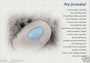 A4 size Laminated Gift Nanny and Grandad - personalised poem gift