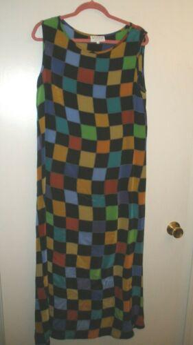 Vintage Silkscapes Silk? Sleeveless Long Dress - S