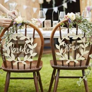 Large Wooden Mr & Mrs Wedding Chair Signs - Rustic Country Wedding ...