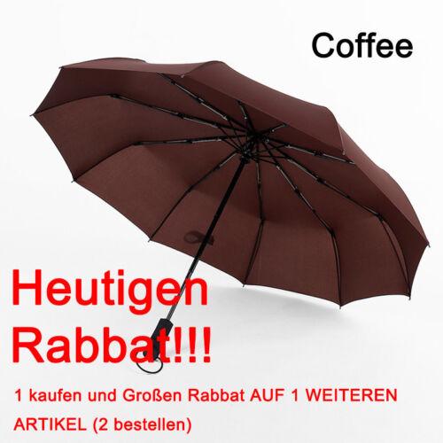 Regenschirm Auf-Zu-Automatik 2 Personen Taschenschirm Sturmfest groß mit Etui