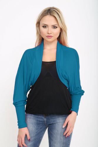 Femmes Femmes Chauve-souris Haussement Jersey BOLERO Casual Cardigan Haut Plus Taille 8-26