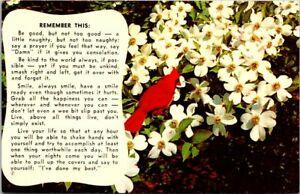 Postcard-Legend-of-the-Dogwood-Tree-Flowers-Red-Cardinal-Bird