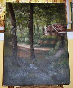 VINTAGE-CABIN-FOREST-TREES-GRAY-SQUIRRELS-LANDSCAPE-NATURE-WOODPECKER-PAINTING