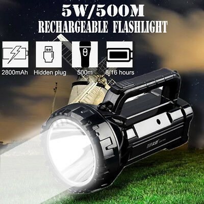 500W USB Rechargeable Work Candle Power Light Torch 1000m Spotlight Hand Lamp