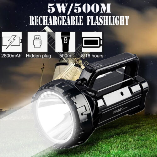 500M Rechargeable LED Flashlight Torch Candle Power Light Hand Lamp