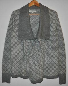 Ann-Taylor-LOFT-Women-039-s-Size-Small-Open-Front-Sweater-Gray-White-Knit-Wool-Blend