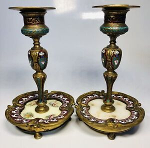 Antique French 19th Century Hand-Painted Enamel on Bronze Candlesticks AS-IS