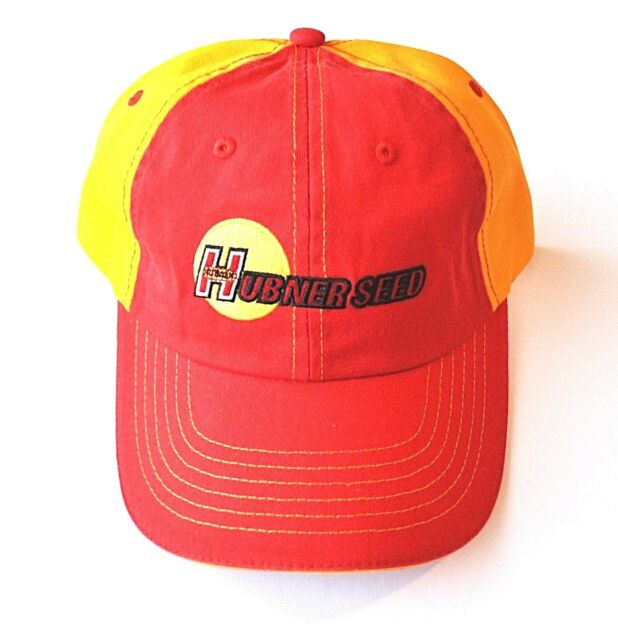 Hubner Seed Red and Orange Hat Adjustable Strap Back Hook and Loop Closure